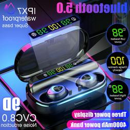 4000mAh LED bluetooth 5.0 TWS Wireless Headphones Earphones