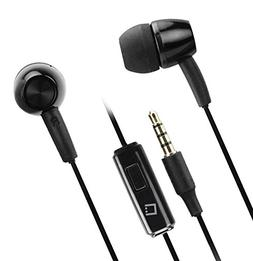 Hands Free Stereo Headset Earbud Two Pack Bundle Black White