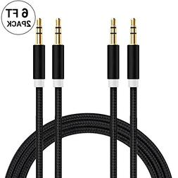 Audio Cable, 2 PACK EVISTR 3.5mm 1/8 24K Gold Plated 6FT Mal
