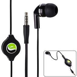 Premium Black Retractable Mono Headset Single Earbud Earphon