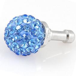 uxcell Bling Ocean Blue Crystal 3.5mm Earphone Ear Cap Anti