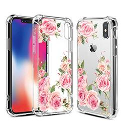 Airror Case for iPhone X with Flowers,  Slim Shockproof  Cle