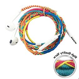 Colorful Earbuds No Tangle Cute Durable with Noise Canceling
