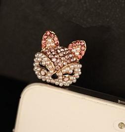 Tiny Chou Cute Bling Crystal Diamond and Pearl Fox 3.5 mm Ce
