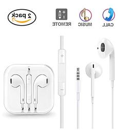 Earbuds with Microphone and Volume Control, 2 Pack Earphones