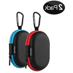 Earbuds Carrying Case,EarCater 2Pack Small Oval Zipper Case