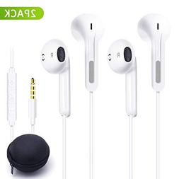 PansyDirect Earphones, 2Pack In-Ear Wired Earphones with Rem