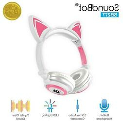 SoundBot Glowing LED Cat Ear Fordable Wired Over-Ear Headpho