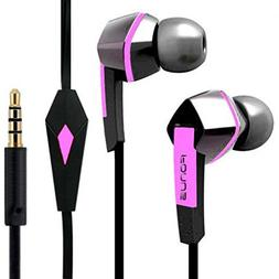 Headset Hands-free Earphones Pink Earbuds Mic Dual Headphone