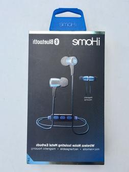 iHome iB29LC Wireless Bluetooth Metal Earbuds Blue