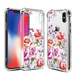 Airror iPhone X Case with Flowers,  Slim Shockproof Clear Fl