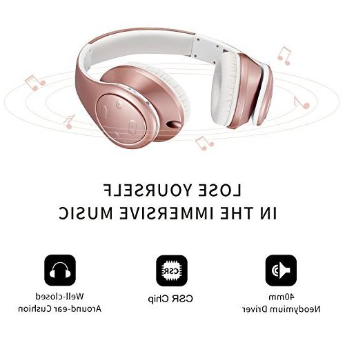 Bluetooth Headphones Over Ear, with Deep Foldable & Lightweight, Cell Phone/TV/ Travelling