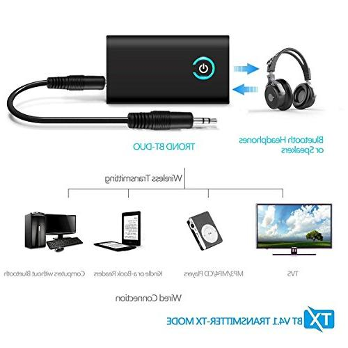 Bluetooth Transmitter/Receiver 2-in-1 3.5mm Audio aptX Low Music TV/PC/Car SystemBluetooth JMFONE 2-in-1