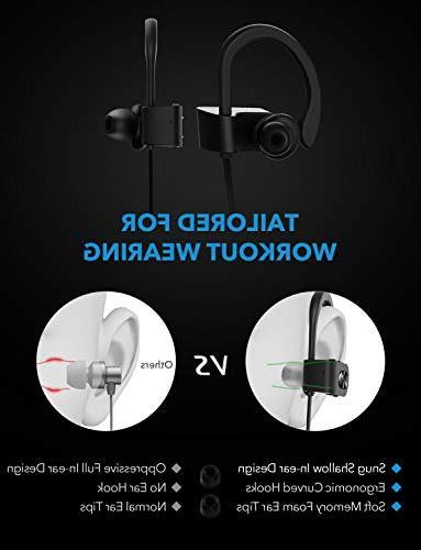 Mpow Bluetooth Headphones Waterproof IPX7, Earbuds Sport, Bass HiFi 7-9 Cancelling Headsets