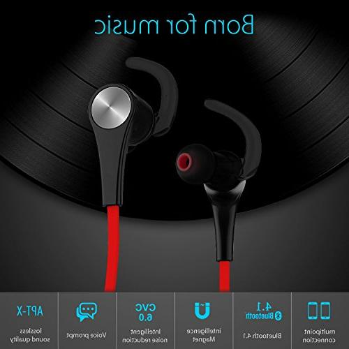 SoundPEATS Headphones Magnetic Earphones Sport Fit Stereo Bluetooth for Running - Red
