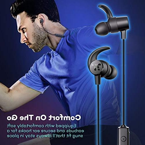 TaoTronics Bluetooth Headphones, Sweatproof Wireless Ear Earbuds, Sports Magnetic Earphones with Built in