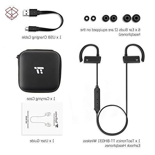 TaoTronics Bluetooth in Ear Earbuds, Earphones with 360° Adjustable Earhooks