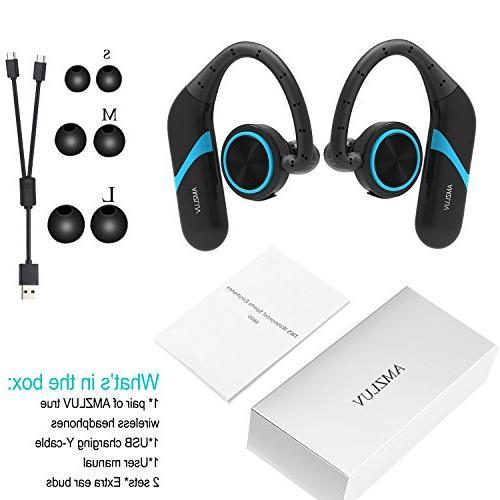 True Wireless Amzluv Sport IPX6 Waterproof Sweatproof Gym Running 8 Hour Playback Cordless Headphones