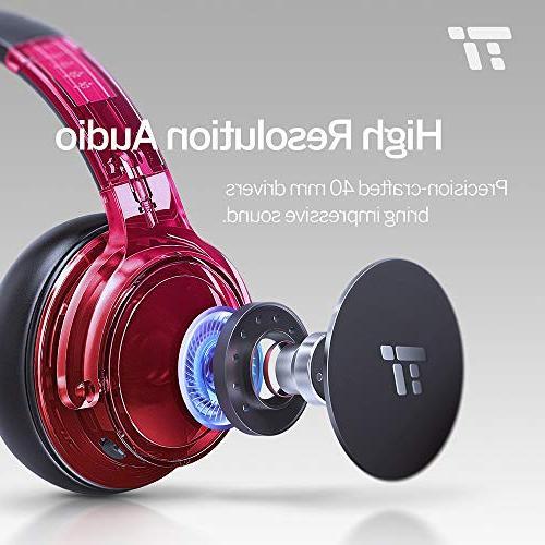 TaoTronics Bluetooth Headphones Wireless Ear Bass Headset w/CVC Canceling 30 Playtime Travel TV