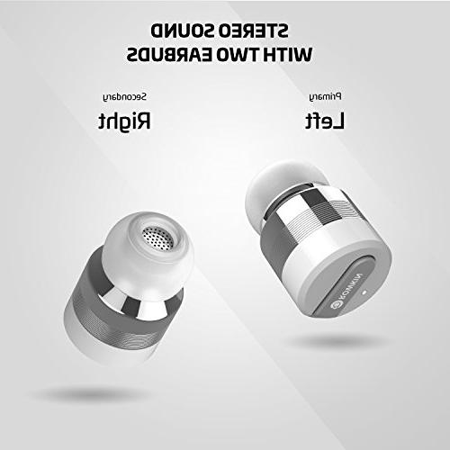 Rowkin Bit Charge Stereo: True Wireless w/Charging Case. Bluetooth Smallest Cordless Hands-Free Headset Reduction for Android iPhone