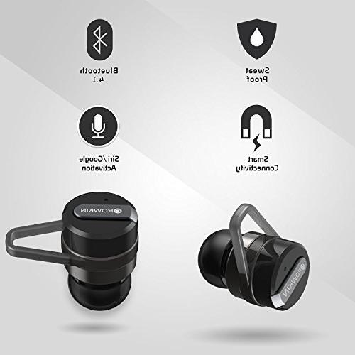 Rowkin True Case. Bluetooth Headphones, Smallest Hands-Free Headsets w/Mic & Noise for Android and