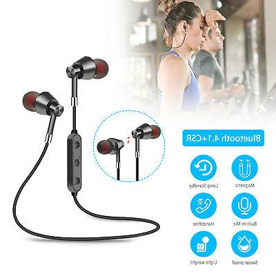 Bluetooth 4.1 Headphones Wireless Magnetic Earbuds Gym Headset