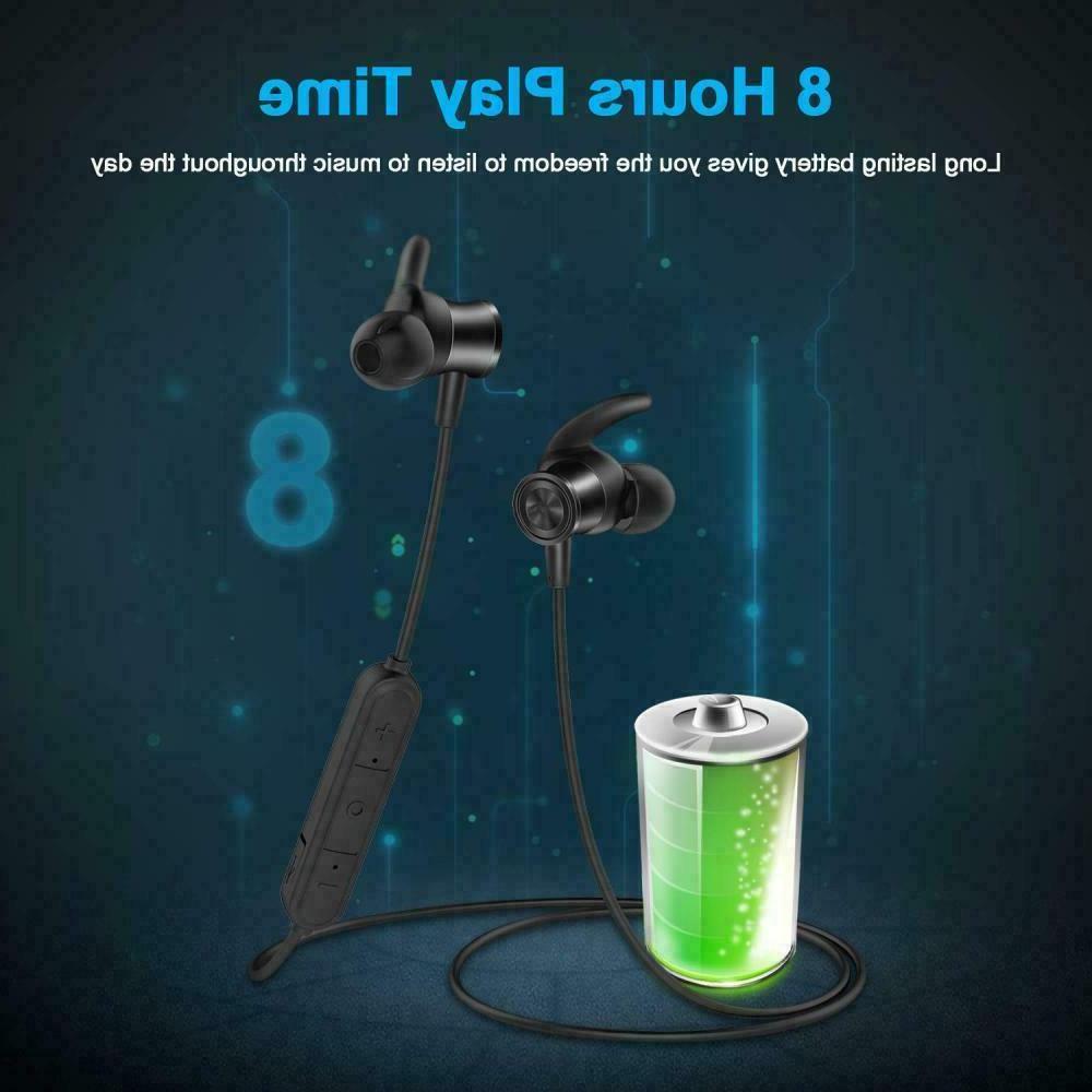 LETSCOM Bluetooth 5.0 Headphones, Lightweight IPX5 Built in Mic