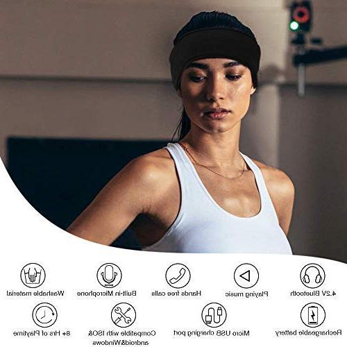 Bluetooth AGPTEK V4.1 Wireless Headband Detachable Speaker, Eye for Sleeping, Sports, Snoring, Meditation & Women Men,