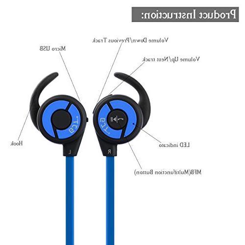 V4.1 Sports Earphones with Mic Lightweight Sweatproof In Ear Noise Fit Gym&Sports