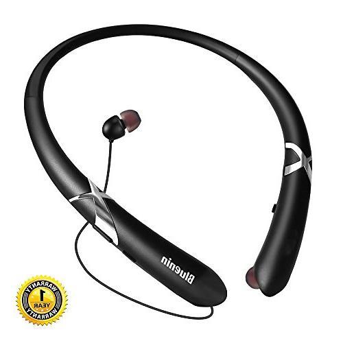 bluetooth headphones bluenin neckband retractable