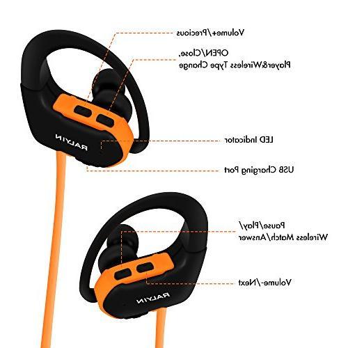 Ralyin Headphones MP3 Player Wireless Earbuds Headset Built 8gb Memory Micro Storage Running Workout