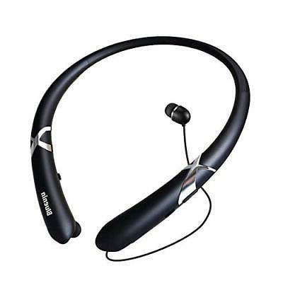 dbca1e4185c Bluetooth Headphones Retractable Earbuds Neckband Wireless Headset Sport
