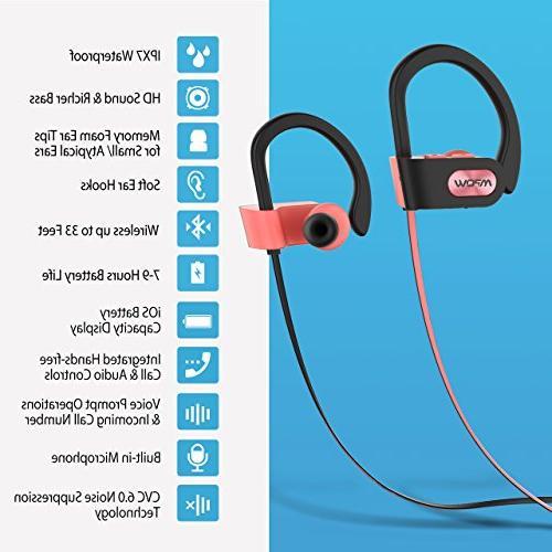 Mpow Flame Headphones Waterproof Wireless Sport, Bass Stereo in-Ear Earphones Case, Hrs Noise