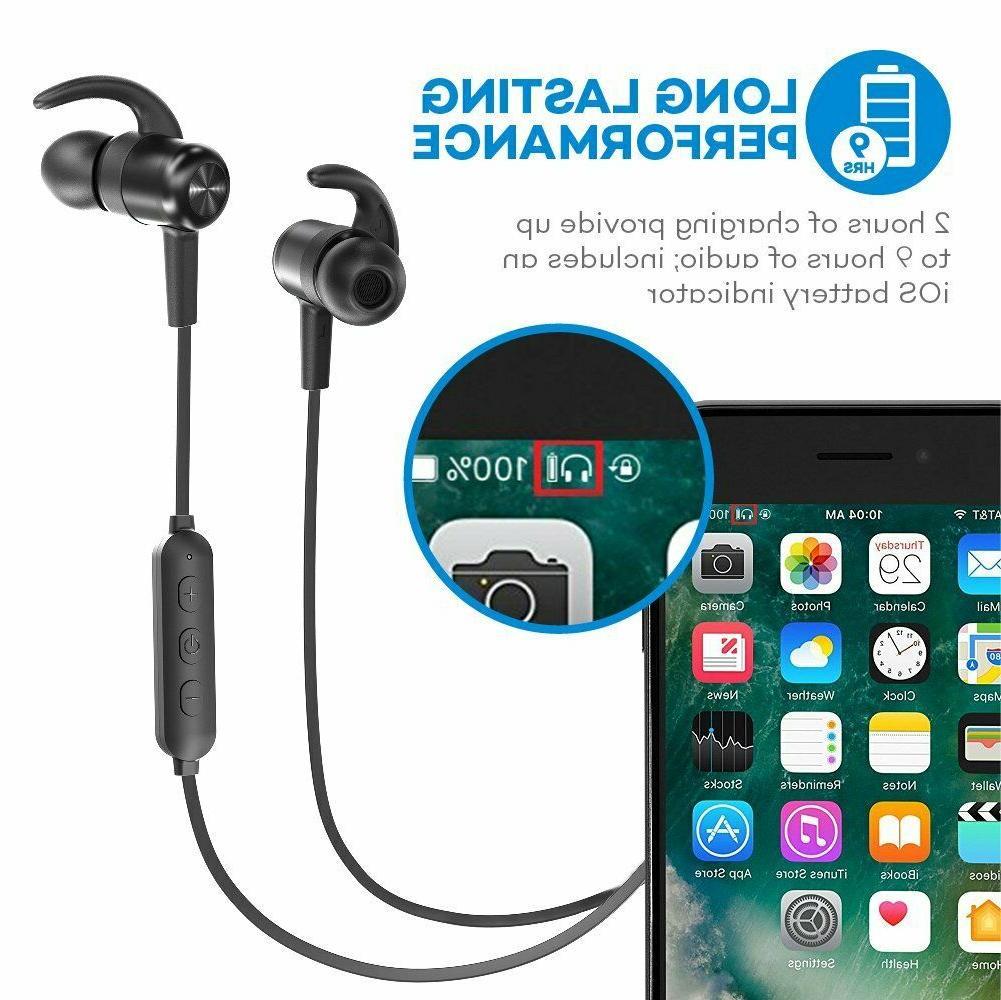 Bluetooth Headphones TaoTronics Earbuds Sport 9 Hours 4.2....