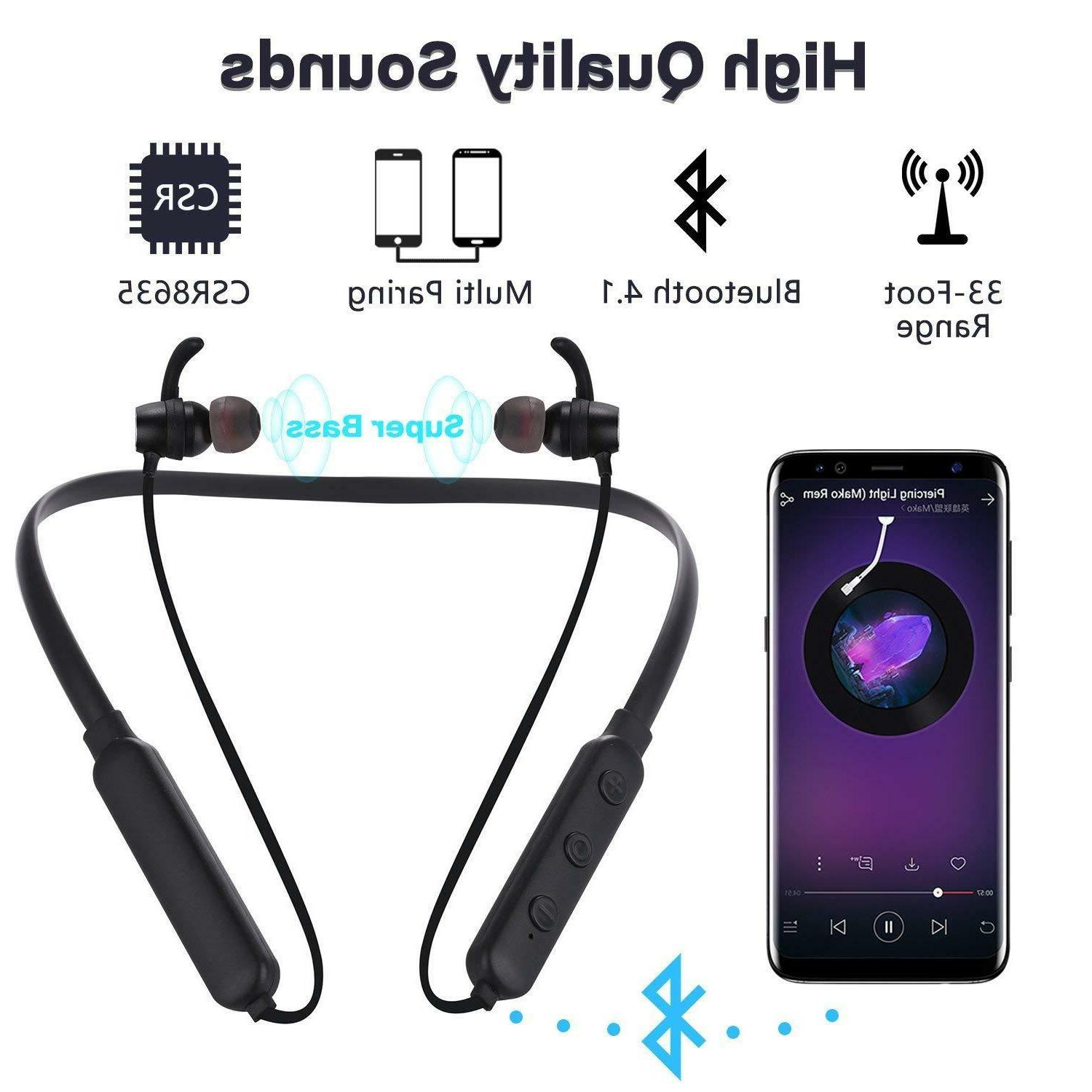 Wireless Bluetooth Headphones Earphones Sweatproof Bass