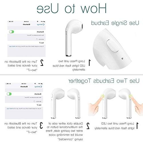 Bluetooth Microphone Earbuds , Compatible iPhone X 8 7 6S Samsung iOS Android Smartphone