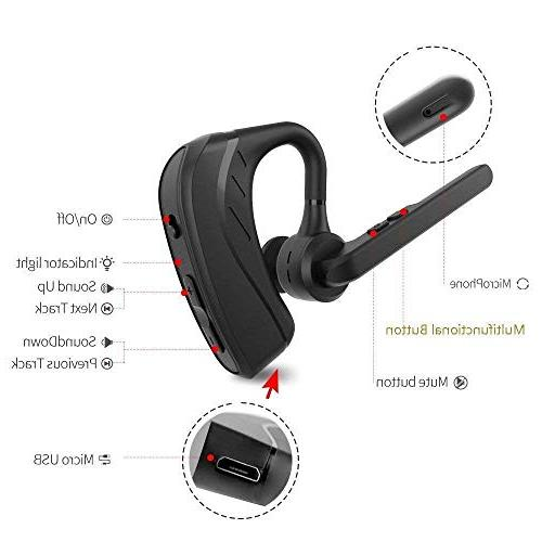 Bluetooth V4.1 Ultralight Earphone with Business/Office/Driving-Black
