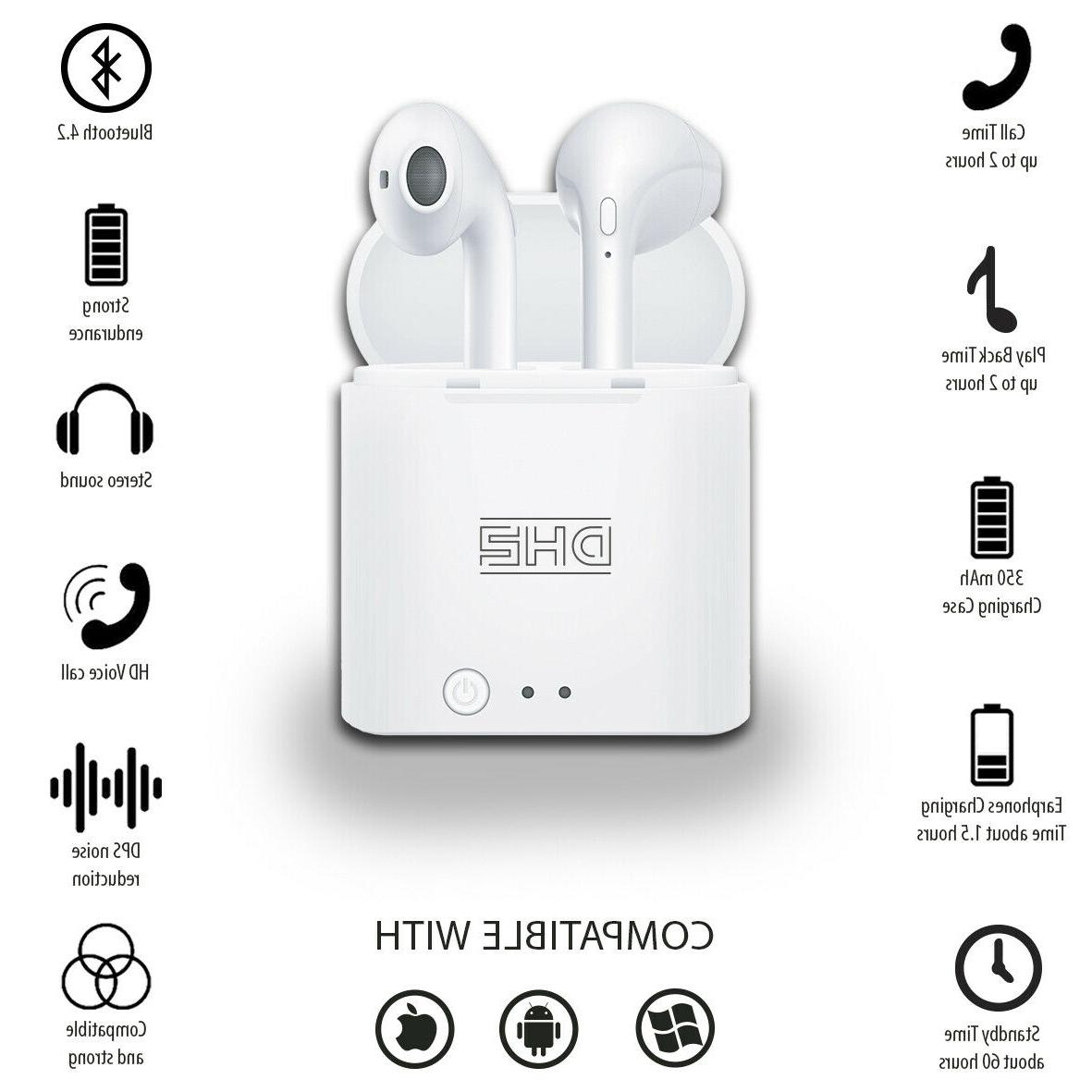 Bluetooth Earbuds Headset i7 TWS True W Charger Box