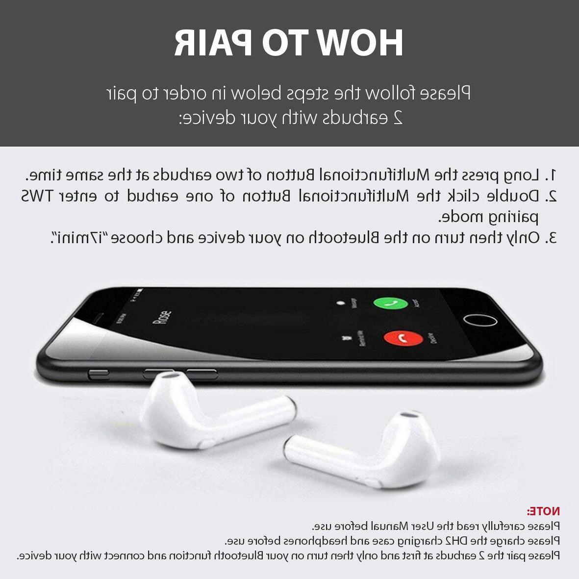 Bluetooth Wireless Earbuds i7 TWS W White