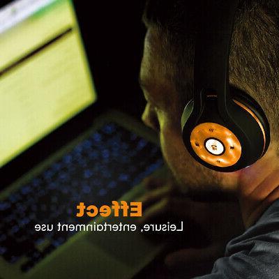 Bluetooth Headphones Stereo Earphone LED light UP MIC
