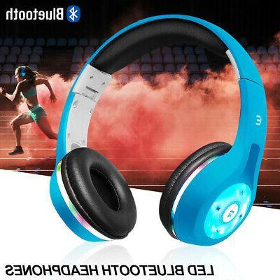 Bluetooth Wireless Headphones Stereo Earphone Headset light UP MIC