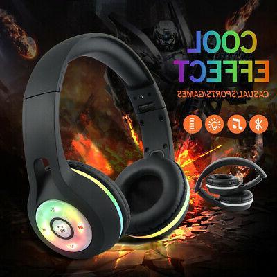 Bluetooth Wireless Headphones Earbuds Stereo Headset light UP
