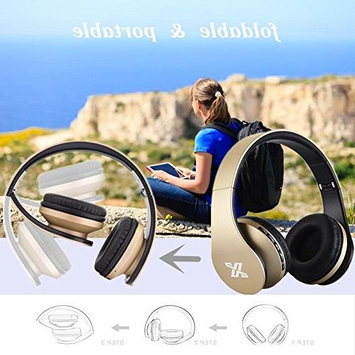 Bluetooth Wireless headset Microphone - 1 Upgrade Over Head With Earpads MP3