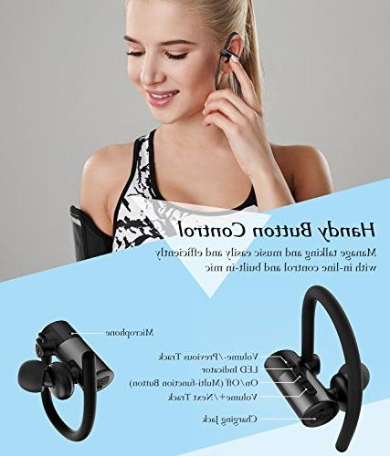 Mpow D4 Earphones HD Sound Secure Fit Lightweight for Jogging, Cancelling Headset