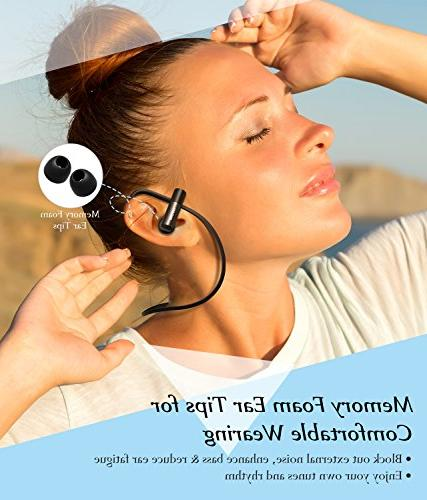 Mpow D4 Bluetooth Earphones HD Secure Fit Lightweight Earbuds for Running, Jogging, 8 Playtime