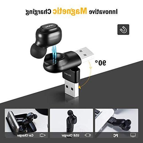 Mpow EM13 Earpiece, 6-Hrs Wireless Mini Bluetooth Headset USB Cordless Car Bluetooth Headphones Microphone for Single Earbud