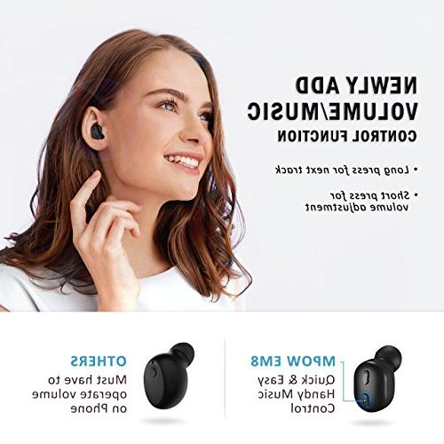 Mpow V4.1 Single w/Volume Control Playtime Mini Invisible Headset with Noise Reduction Cell