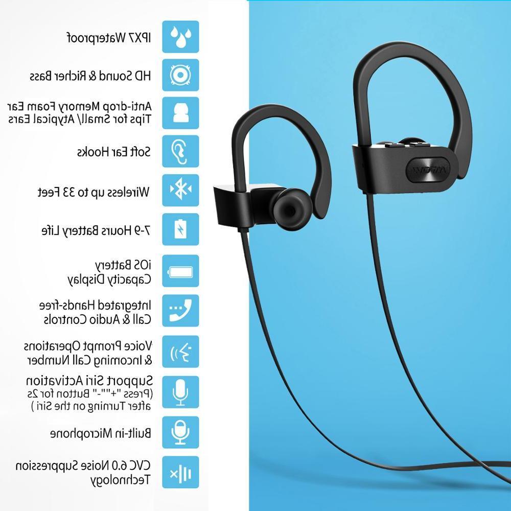 <font><b>Mpow</b></font> <font><b>Bluetooth</b></font> Noise Stereo Waterproof <font><b>Earbuds</b></font> Mic Case