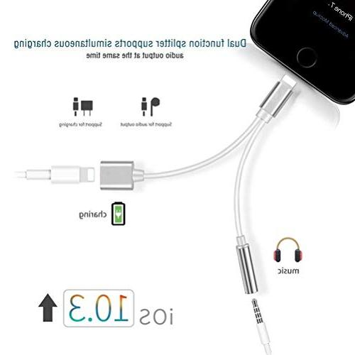 Haedphone Adapter Haedphone Charger Adaptor for iPhone 2 in 1 Connector iPhone iPhone 8/8plus Earbud Adapter para Accesorio