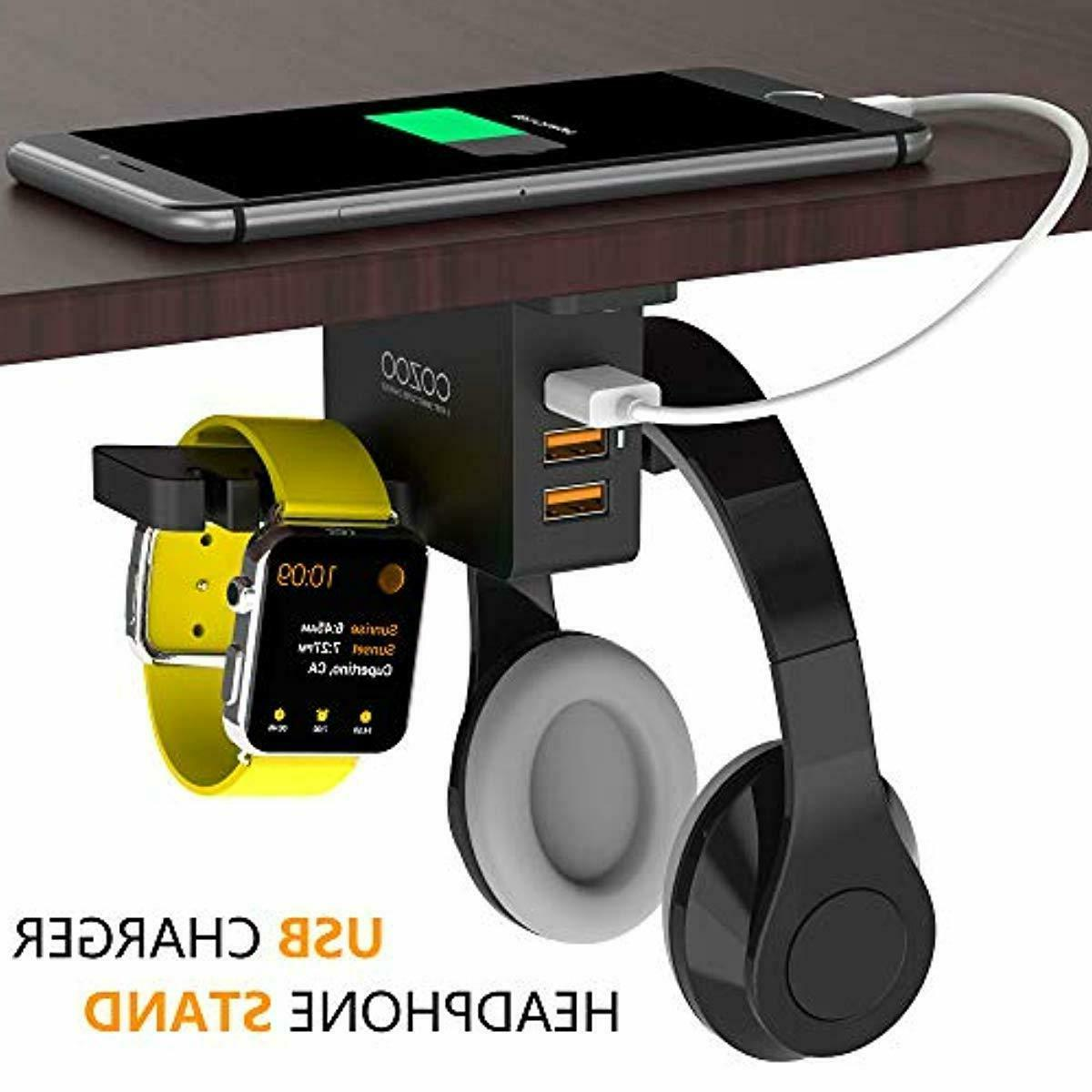 Headphone Stand with Charger Under Desk Headset 3 Po